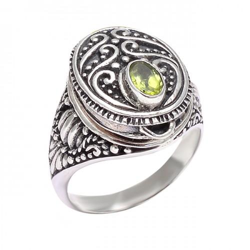 Black Oxidized Handcrafted Designer Peridot Oval Shape Gemstone 925 Silver Rings Jewelry