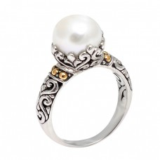 Stylish Designer Vintage Look Pearl Round Cabochon Gemstone 925 Silver Ring Jewelry