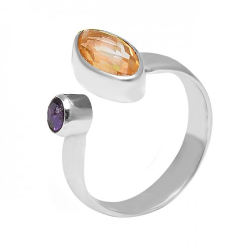 Fashionable Citrine Amethyst Gemstone 925 Sterling Silver Handmade Ring Jewelry