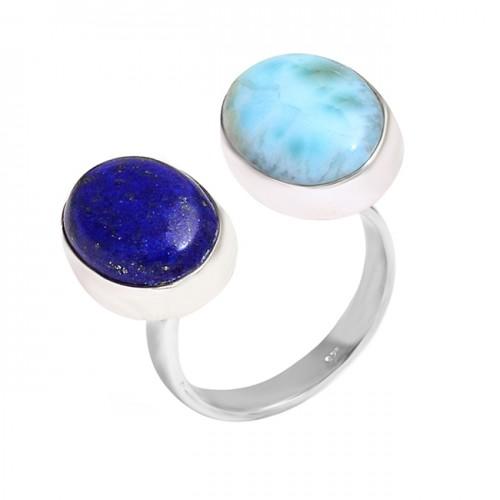 Cabochon Oval Sapphire Larimar Gemstone Handcrafted Designer 925 Silver Ring