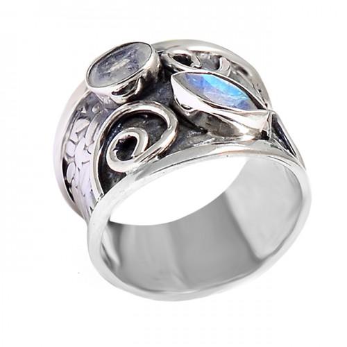 Labradorite Oval Marquise Shape Gemstone Fashionable Black Oxidized Ring Jewelry