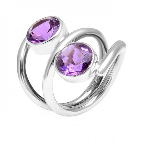 925 Sterling Silver Round Shape Amethyst Gemstone 925 Silver Band Designer Ring