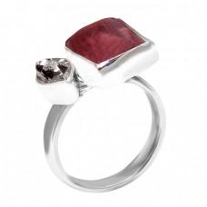 925 Sterling Silver Tourmaline Herkimer Diamond Rough Gemstone Designer Ring