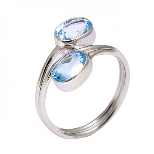 925 Sterling Silver Blue Topaz Oval Shape Gemstone Handmade Band Ring Jewelry