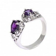 925 Sterling Silver Filigree Style Amethyst Gemstone Designer Ring Jewelry