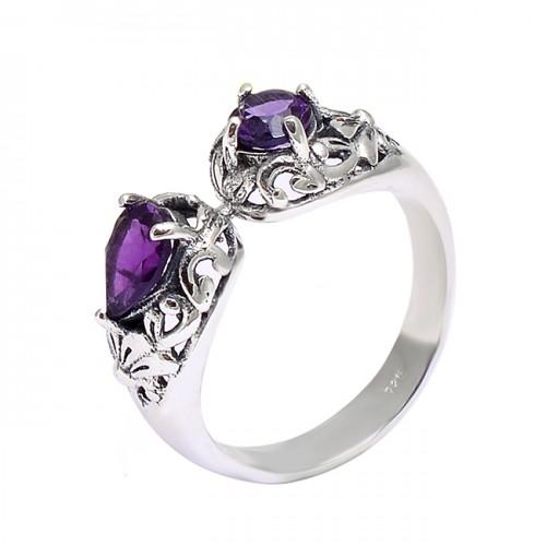 925 Sterling Silver Filigree Style Amethyst Gemstone Designer Ring Jewelry