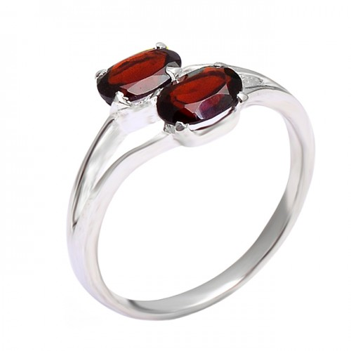 925 Sterling Silver Red Garnet Oval Shape Gemstone Band Designer Ring Jewelry