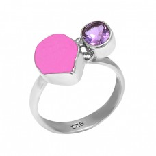 925 Sterling Silver Amethyst Tourmaline Gemstone Handmade Designer Ring