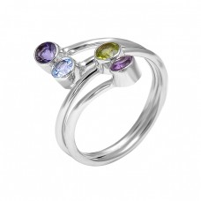 925 Sterling Silver Round Shape Multi Gemstone 925 Silver Band Designer Ring