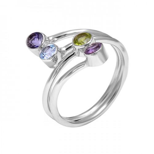 925 Sterling Silver Round Shape Multi Gemstone 925 Silver Band Designer Ring