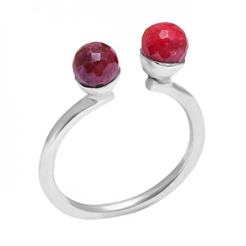 Faceted Round Balls Shape Ruby Gemstone 925 Sterling Silver Ring Jewelry
