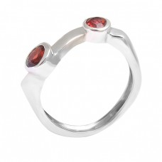 925 Sterling Silver Round Shape Garnet Gemstone 925 Silver Band Designer Ring Jewelry