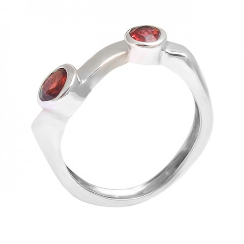 925 Sterling Silver Round Shape Garnet Gemstone 925 Silver Band Designer Ring Jewelry