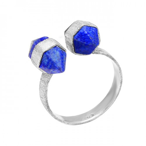 925 Sterling Silver Step Cut Pencil Shape Lapis Gemstone Handmade Designer Ring