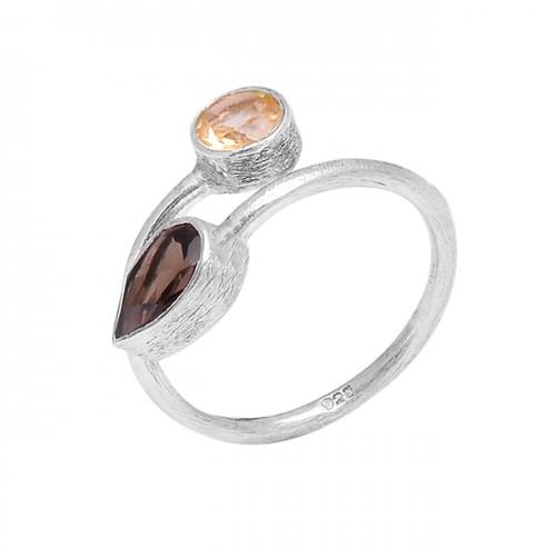 925 Sterling Silver Citrine Smoky Quartz Gemstone Handmade Designer Band Ring