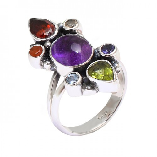 Latest Designer Multi Color Gemstone 925 Sterling Silver Black Oxidized Ring Jewelry