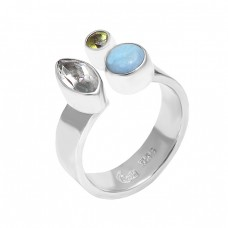 Green Amethyst Peridot Larimar Gemstone 925 Sterling Silver Designer Ring