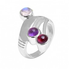 925 Sterling Silver Moonstone Amethyst Garnet 925 Silver Designer Band Ring Jewelry