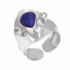 Cabochoon Lapis Gemstone 925 Sterling Silver Adjustable Handmade Ring Jewelry