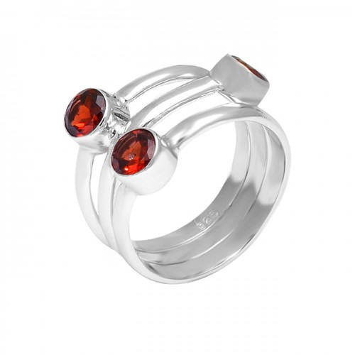 925 Sterling Silver Faceted Round Red Garnet Gemstone Handcrafted Designer Ring Jewelry