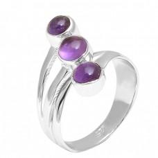 925 Sterling Silver Round Cabochon Amethyst Gemstone Handmade Designer Ring Jewelry