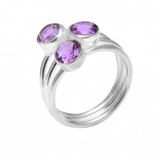 925 Sterling Silver Round Shape Amethyst Gemstone Handcrafted Designer Ring Jewelry
