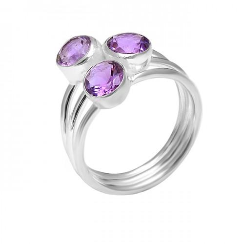 925 Sterling Silver Round Shape Amethyst Gemstone Handcrafted Designer Ring Jewelry