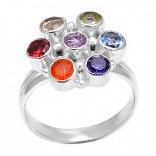 925 Sterling Silver Multi Color Gemstone Unique Handmade Designer Ring Jewelry