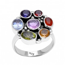 Multi Color Gemstone Black Oxidized Designer 925 Sterling Silver Ring Jewelry