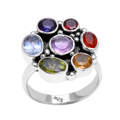 Multi Color Gemstone Black Oxidized Designer 925 Sterling Silver Ring Jewelry