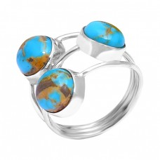 925 Sterling Silver Cabochon Round Blue Copper Turquoise Gemstone Designer Ring