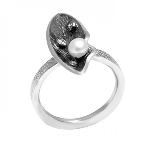 Handmade Designer Pearl Round Cabochon Gemstone Black Oxidized 925 Silver Rings Jewelry