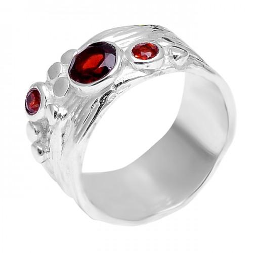 925 Sterling Silver Round Shape Garnet Gemstone Stylish Designer Ring Jewelry