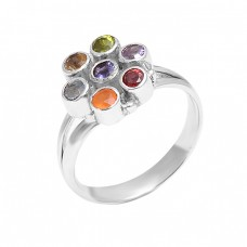 Faceted Round Shape Multi Color Gemstone 925 Sterling Silver Designer Ring