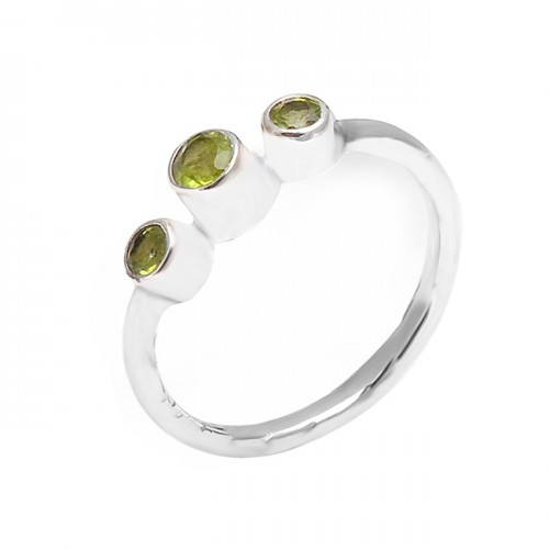 Faceted Round Shape Peridot Gemstone 925 Sterling Silver Designer Ring