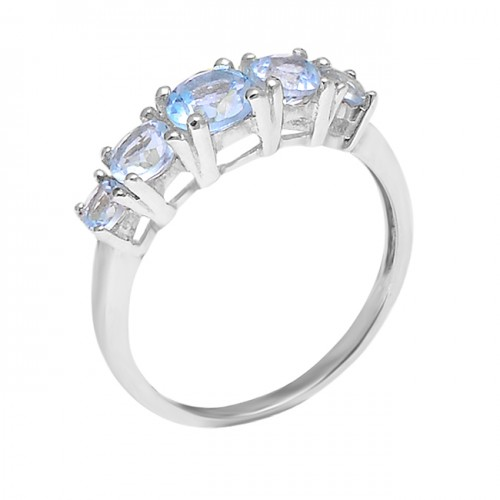 Blue Topaz Round shape Gemstone 925 Sterling Silver Cocktail Designer Ring