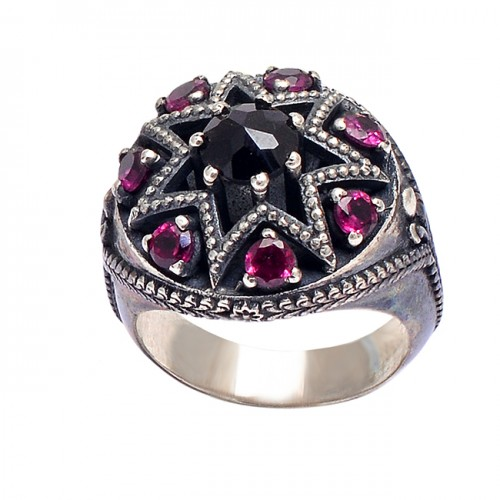 925 Sterling Silver Round Shape Garnet Gemstone Black Oxidized Designer Ring
