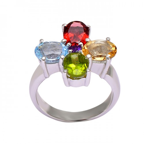925 Sterling Silver Faceted Oval Shape Multi Color Gemstone Handmade Designer Ring
