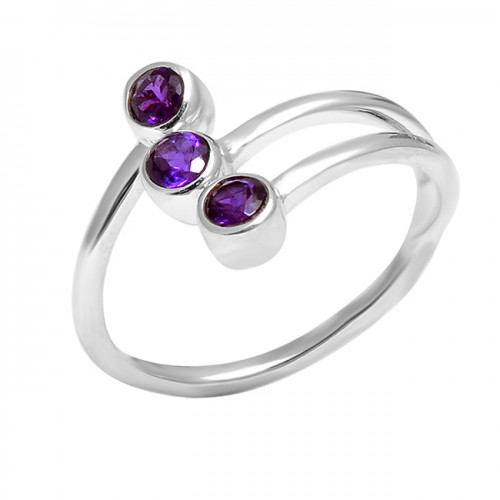 925 Sterling Silver Faceted Round Shape Amethyst Gemstone 925 Silver Band Designer Ring