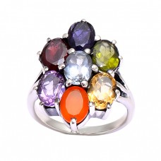 Prong Setting Multi Color Gemstone Handmade Designer 925 Silver Rings Jewelry