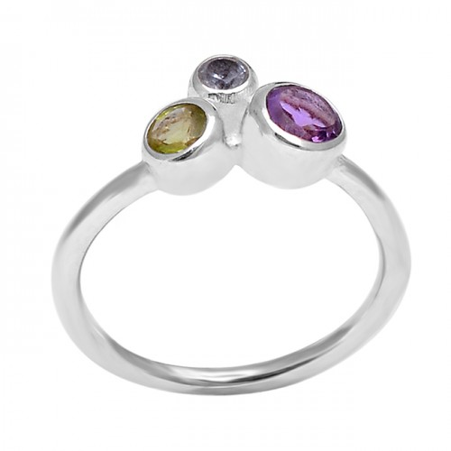 925 Sterling Silver Amethyst Peridot Iolite Gemstone Handcrafted Designer Ring