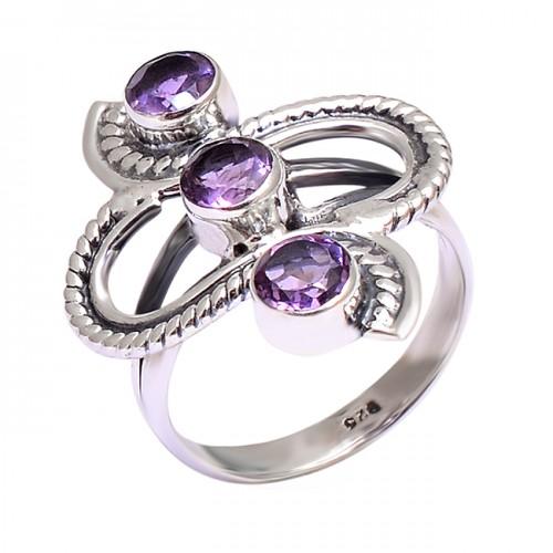 Purple Amethyst Round Shape Gemstone 925 Stylish Designer Silver Ring Jewelry