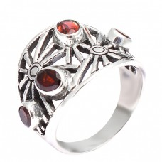 Filigree Style Designer Garnet Oval Round Gemstone 925 Sterling Silver Ring Jewelry