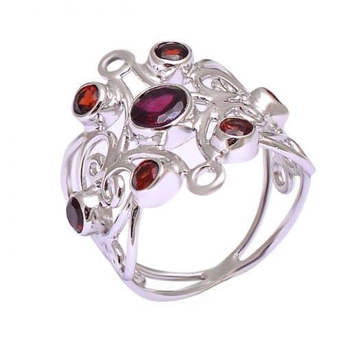 Faceted Round Garnet Gemstone Filigree Designer 925 Silver Rings Jewelry