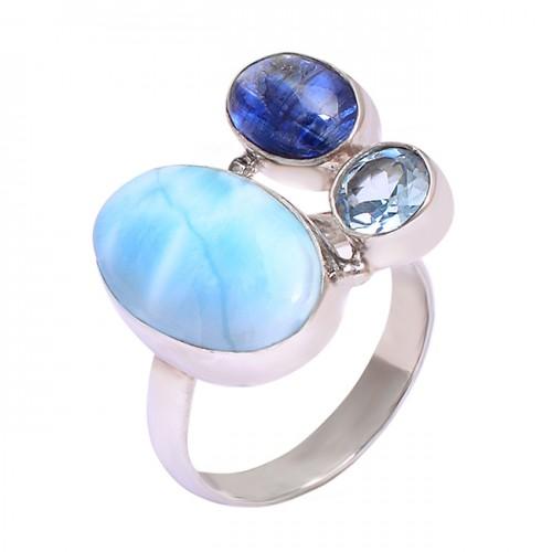 Larimar Lapis Lazuli Blue Topaz Gemstone 925 Sterling Silver Handmade Ring Jewelry