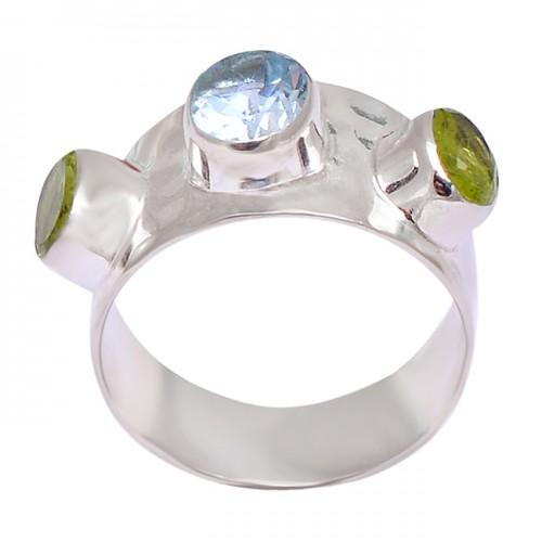 Peridot Blue Topaz Oval Shape Gemstone 925 Sterling Silver Rings Jewelry