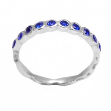 925 Sterling Silver Blue Quartz Round Shape Gemstone Designer Rings Jewelry