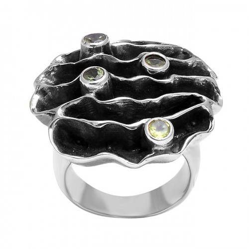 Handcrafted Designer Peridot Round Gemstone Black Oxidized Rings Jewelry