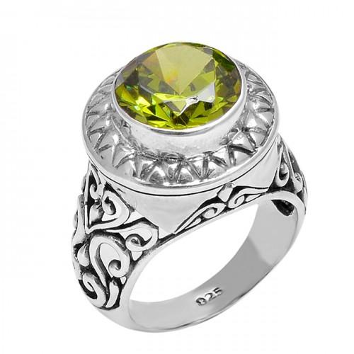 Handmade Filigree Designer Peridot Round Shape Gemstone 925 Silver Rings Jewelry