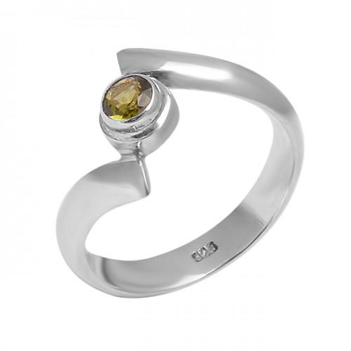 Peridot Round Shape Gemstone Bands Designer 925 Sterling Silver Rings